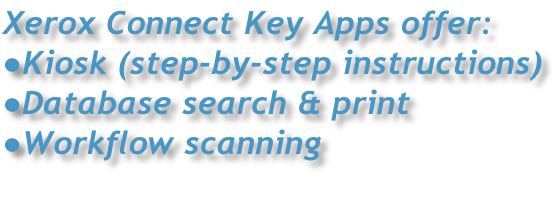 Xerox Connect Key Apps offer: Kiosk (step-by-step instructions) Database search & print Workflow scanning